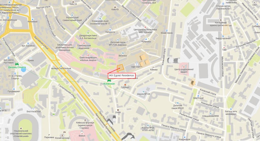 ЖК Егоист резиденс новый проект новостройки Киева 2020 на карте