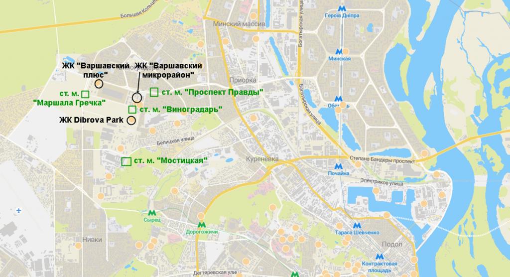 Новостройки на схеме будущей зеленой ветки метро нового Генплана Киева