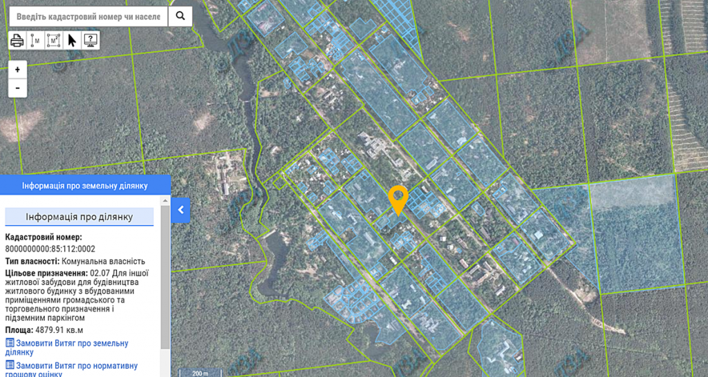 ЖК Пуща Хаус в Пуще Водице данные кадастровой карты о земельном участке