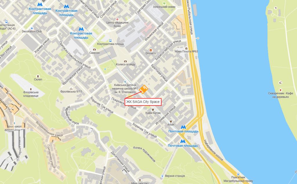 ЖК Сага Сити Спейс на Подоле на карте