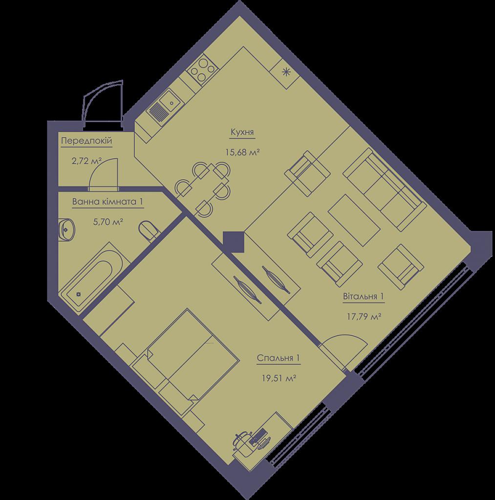 ЖК Франклин Концепт Хаус планировка однокомнатной квартиры