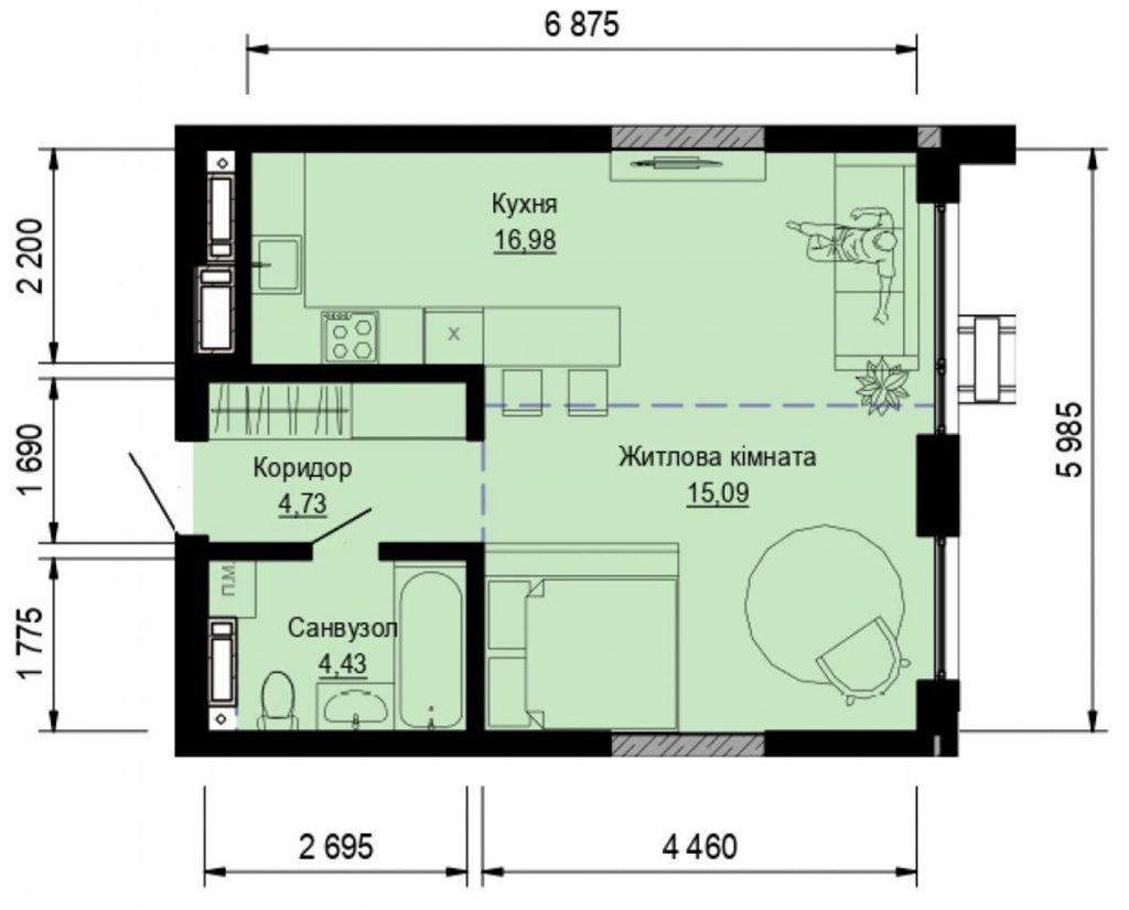 ЖК Пуща Хаус в Пуще Водице планировка однокомнатной квартиры