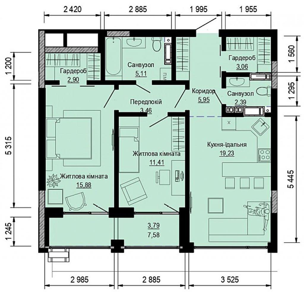 ЖК Пуща Хаус в Пуще Водице планировка двухкомнатной квартиры