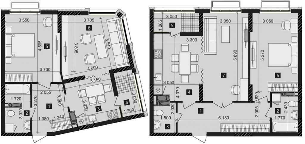 ЖК Лико Град Перфект Таун планировка двухкомнатной квартиры
