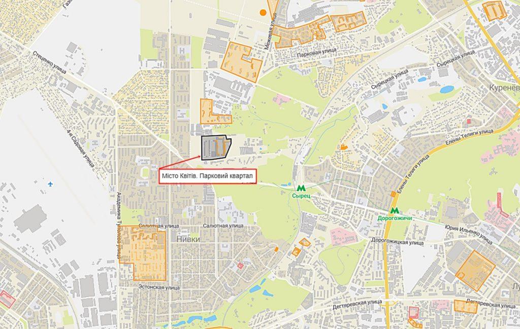 ЖК Місто Квітів. Парковий квартал на карте