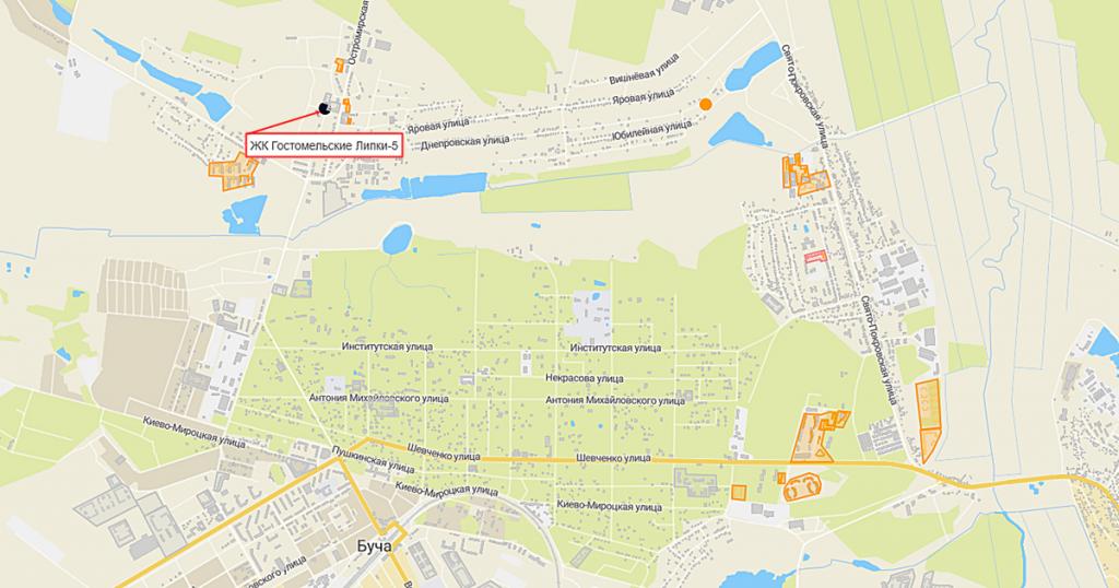 ЖК Гостомельские Липки-5 на карте