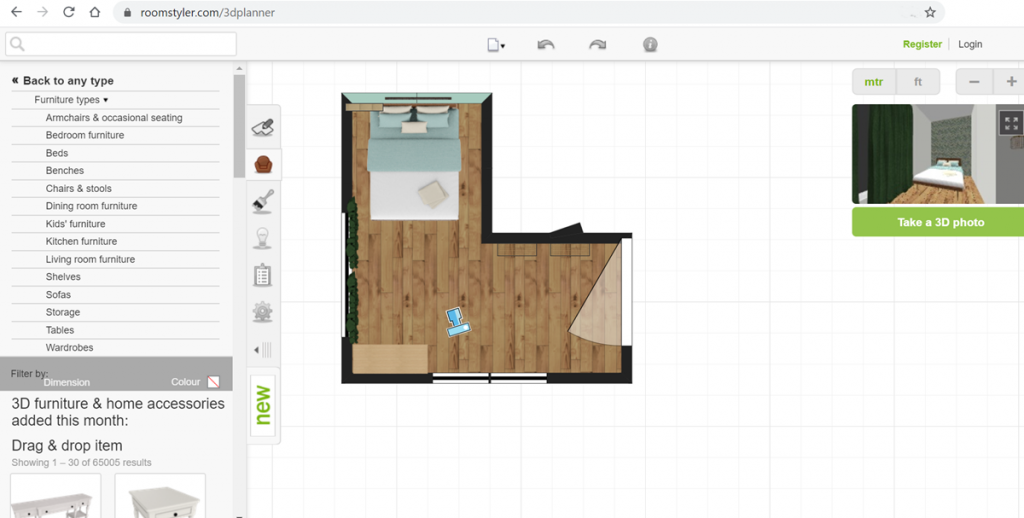 Интерфейс виртуального дизайнера Roomstyler