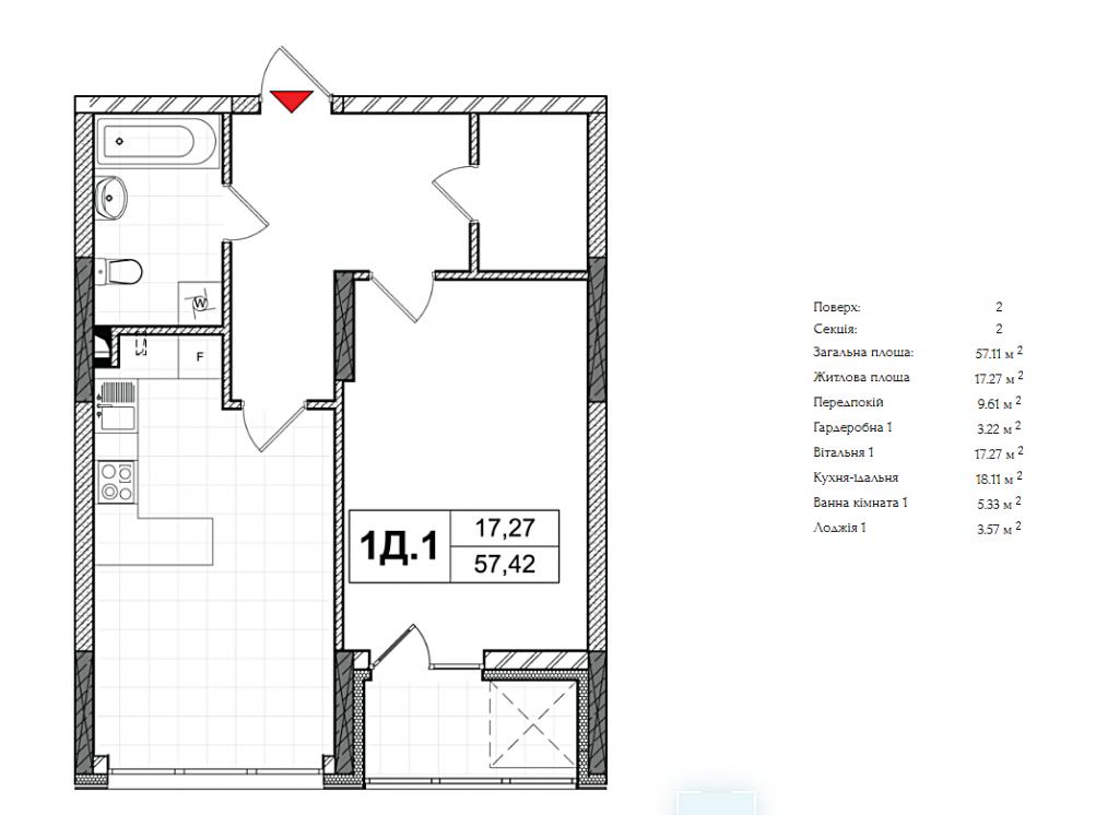 ЖК СИТИ ХАБ планировка однокомнатной квартиры