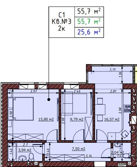 ЖК Гостомельские Липки-5 планировка двухкомнатной квартиры