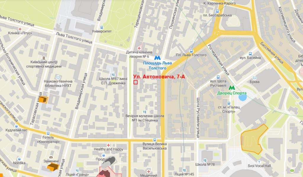 Будущий проект по улице Антоновича, 7-А на карте