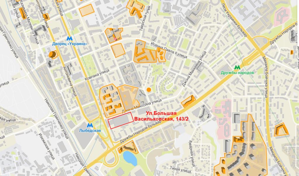 Будущий проект по улице Большая Васильковская, 143/2 на карте