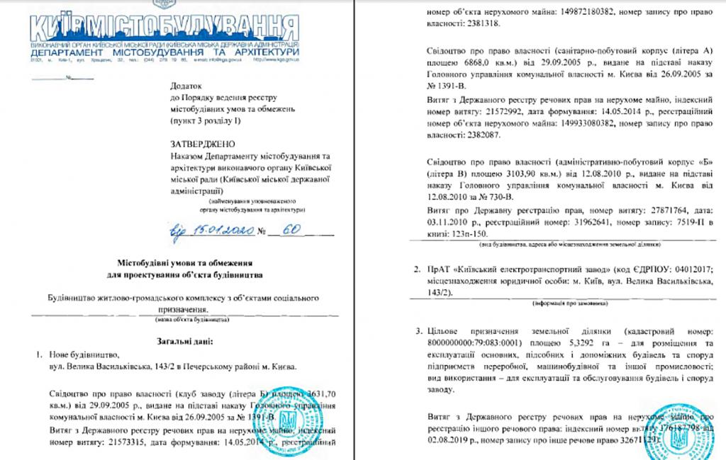 Ограничения на проектирование объекта строительства по улице Большая Васильковская, 143/2