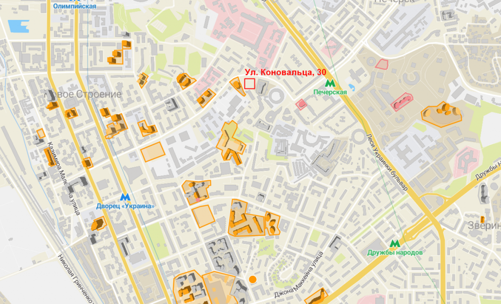 Будущий проект по улице Коновальца, 30 на карте
