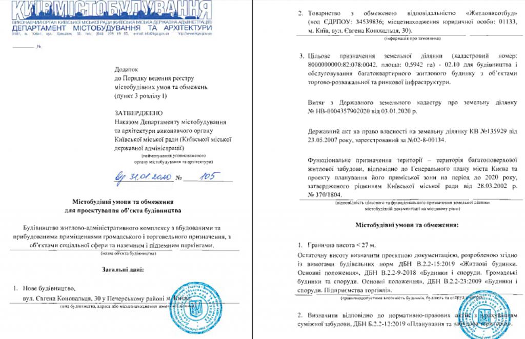 Ограничения на проектирование объекта строительства по улице Коновальца, 30