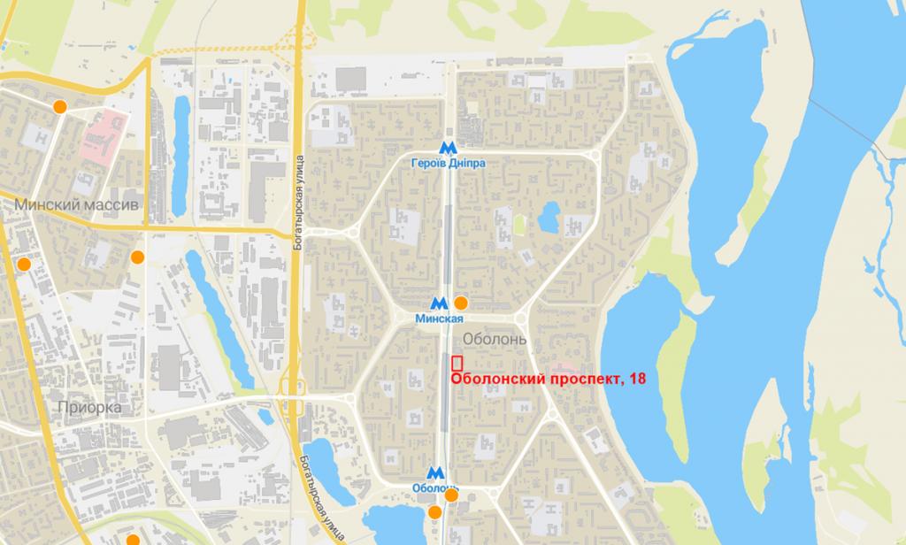 Будущий проект по Оболонскому проспекту, 18 на карте