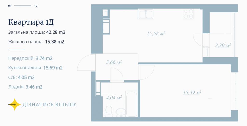 ЖК POLARIS Home&Plaza пример планировки однокомнатной квартиры