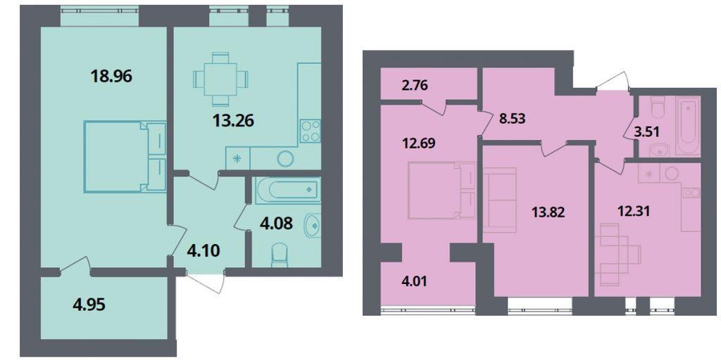 ЖК Европейка планировки одно и двухкомнатной квартир