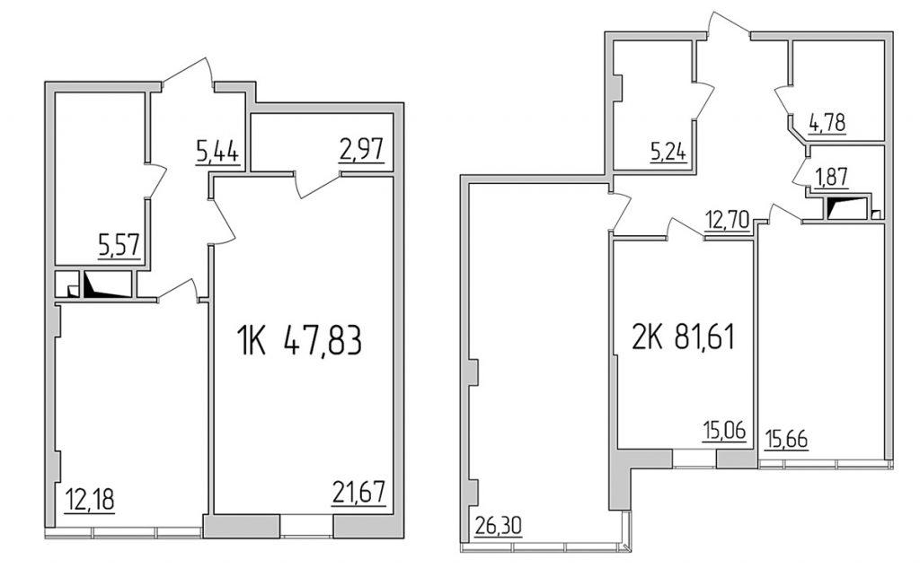 ЖК Тридцать восьмая жемчужина планировка одно- и двухкомнантной квартир
