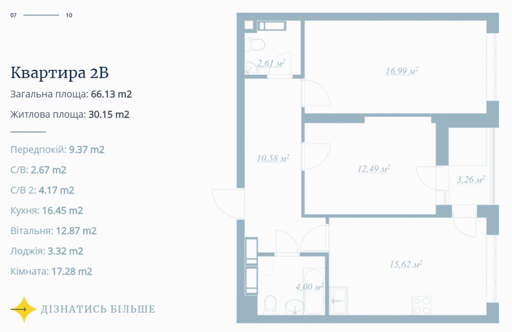 ЖК POLARIS Home&Plaza пример планировки двухкомнатной квартиры
