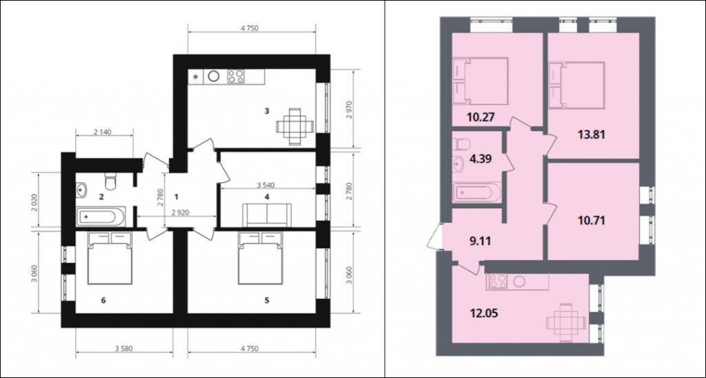 ЖК Европейка планировка трехкомнатной квартиры