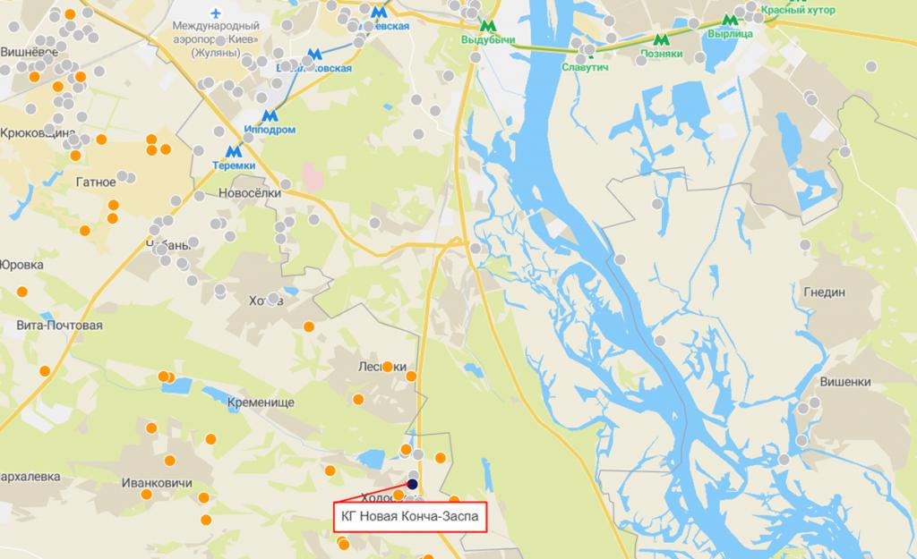 КГ Новая Конча-Заспа на карте