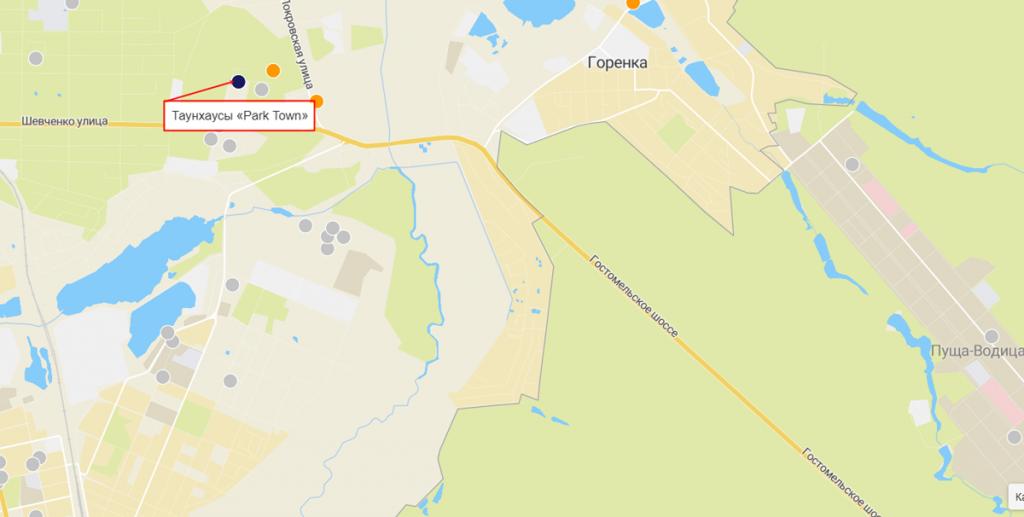 Таунхаусы Park Town на карте