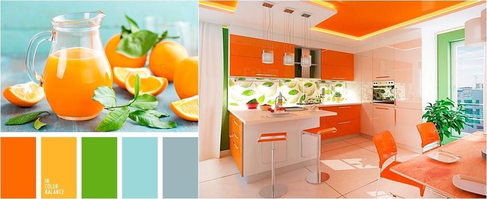 Пример ярких цветов в интерьере кухни