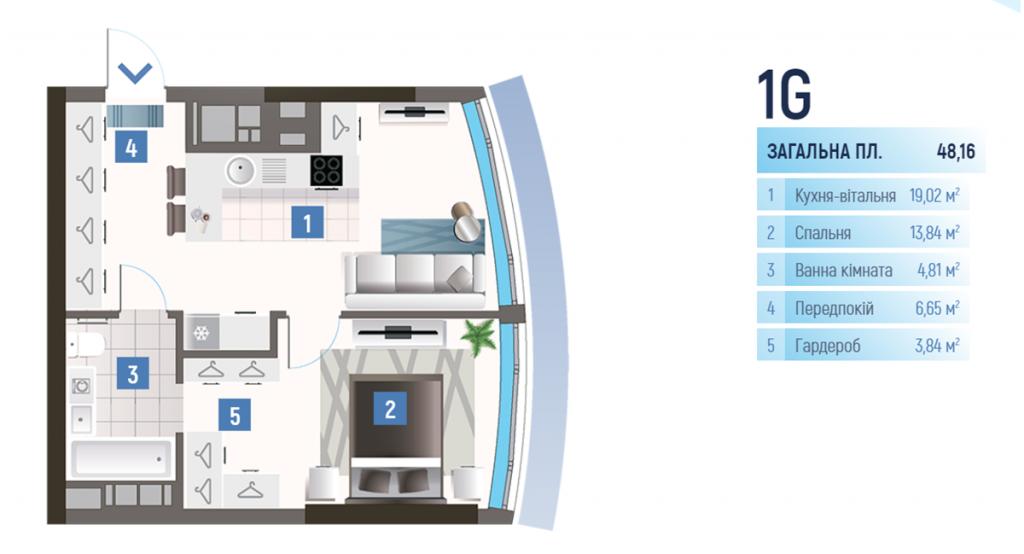 ЖК Oasis планировка однокомнатной квартиры