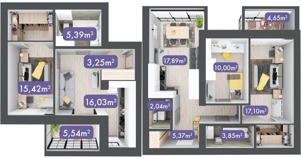 ЖК Desna Park Residence пример однокомнатной и двухкомнатной квартиры