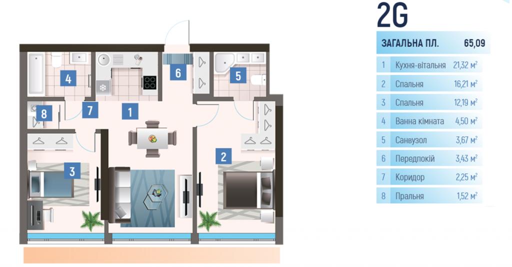 ЖК Oasis планировка двухкомнатной квартиры