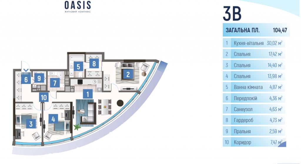 ЖК Oasis планировка трехкомнатной квартиры