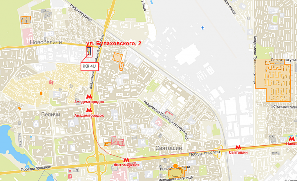 Будущий проект по ул. Булаховского, 2 на карте