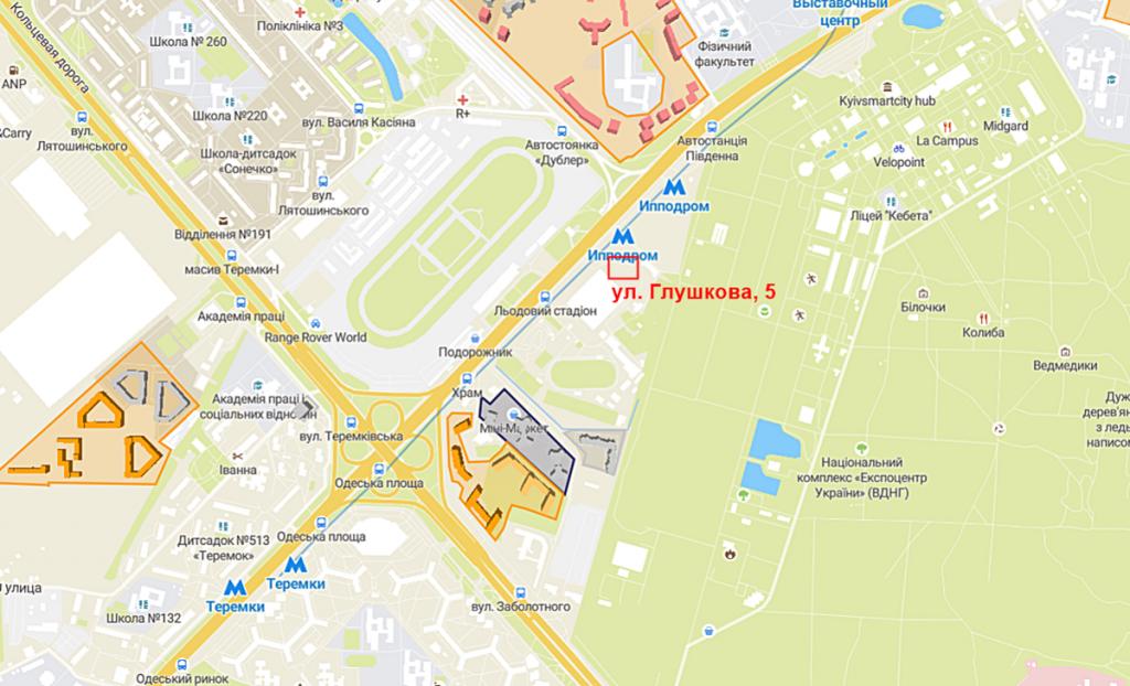 Будущий проект по ул. Глушкова, 5 на карте