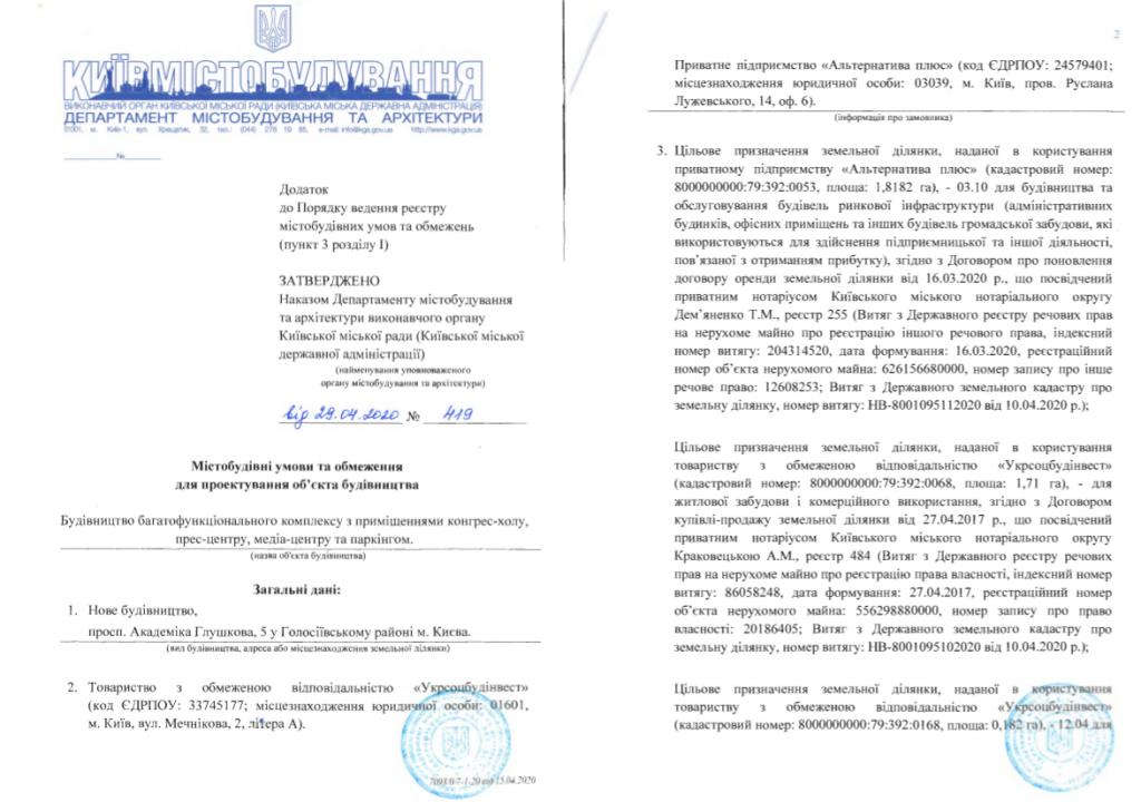 Ограничения на проектирование объекта строительства по ул. Глушкова, 5