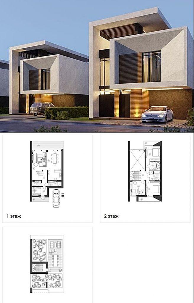 КГ KyivSea вид фасада дома и пример планировки