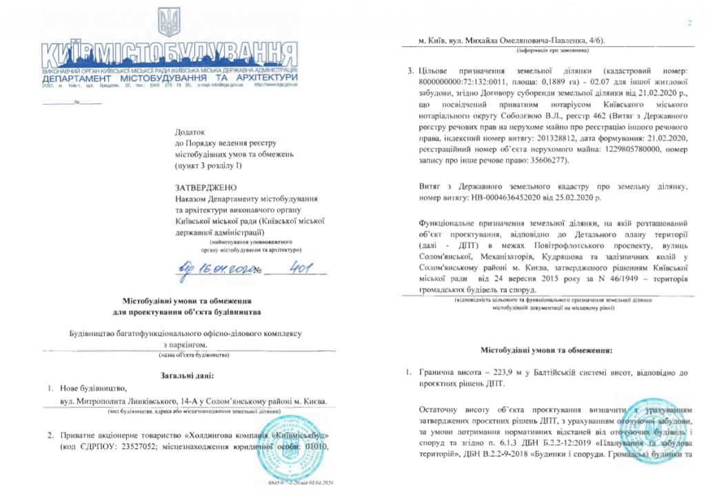 Ограничения на проектирование объекта строительства по ул. Липковского, 14-а