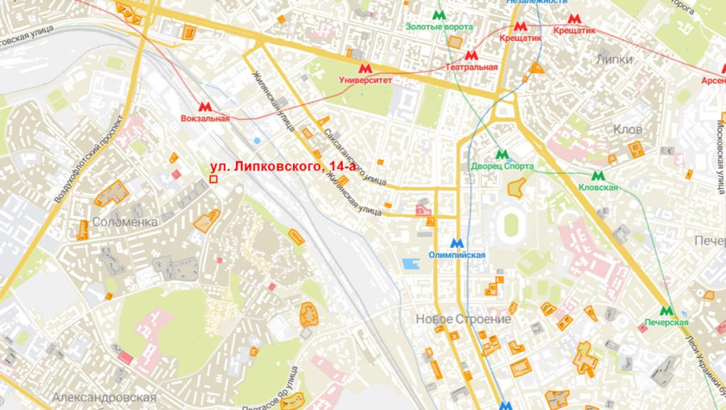 Будущий проект по ул. Липковского, 14-а на карте