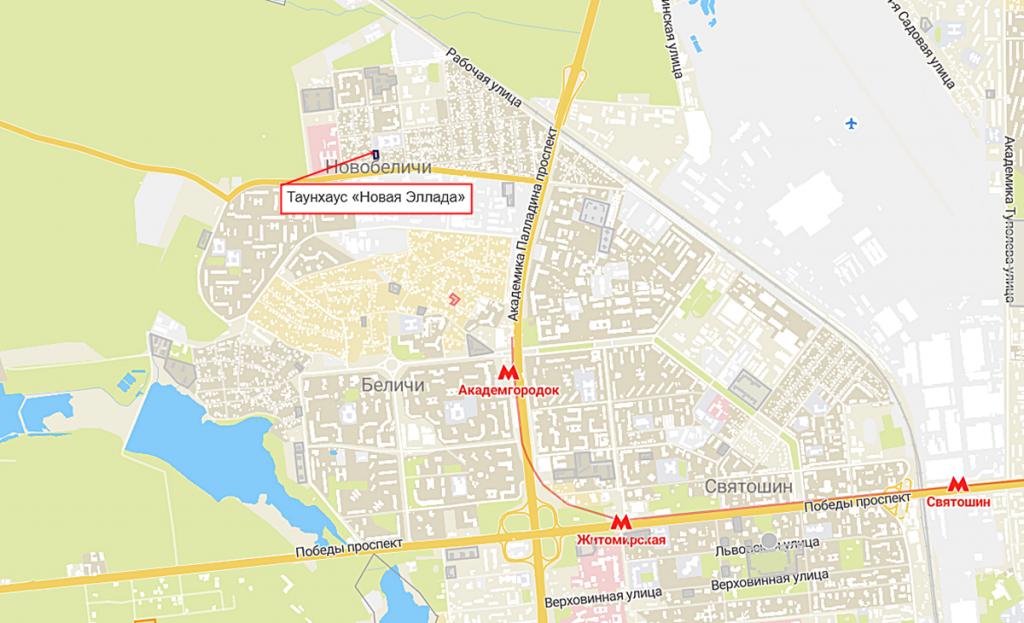 Таунхаус «Новая Эллада» на карте