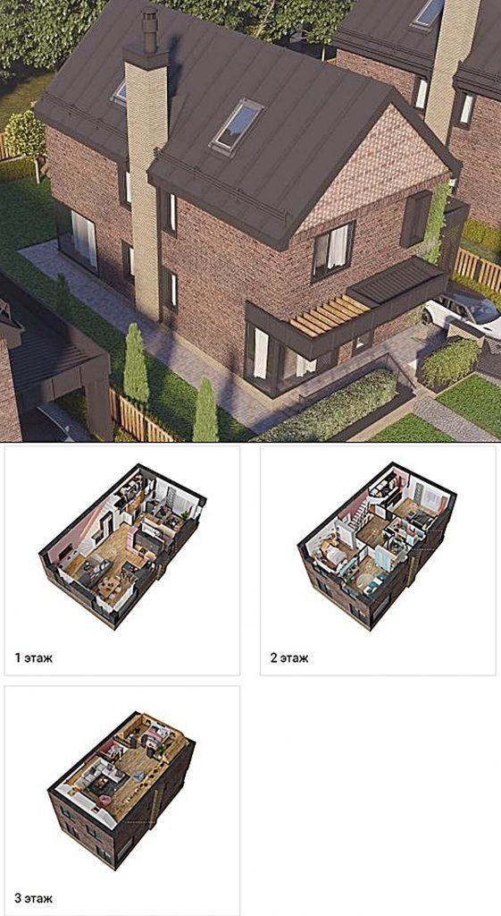 КГ Oak Grove Town вид фасада коттеджа и пример планировки