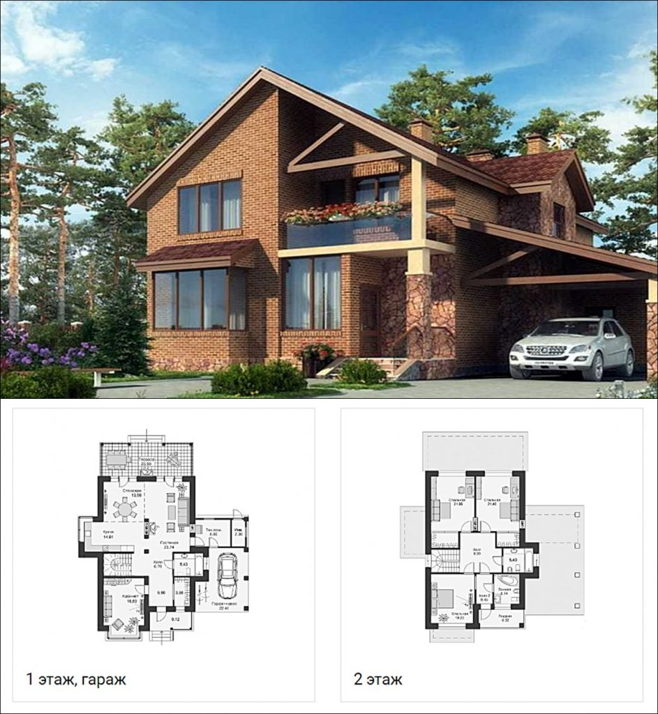 КГ Парк Хаус визуализация и пример планировки коттеджа