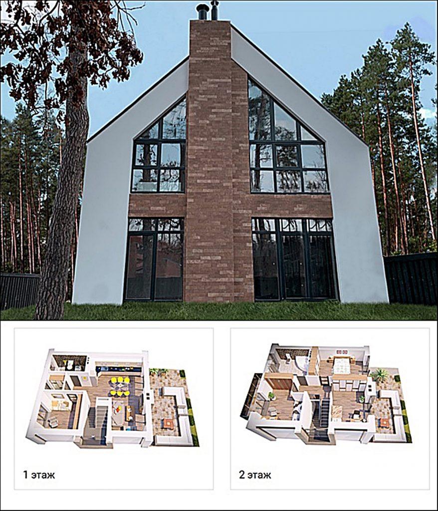 КГ Park Residence 3 вид фасада коттеджа и пример планировки