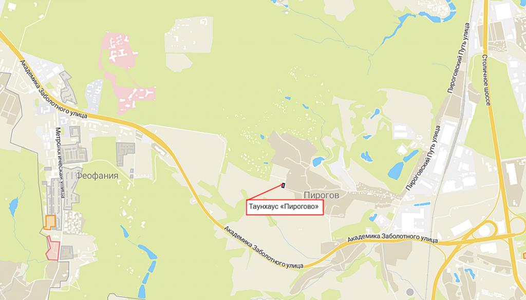 Таунхаус «Пирогово» на карте