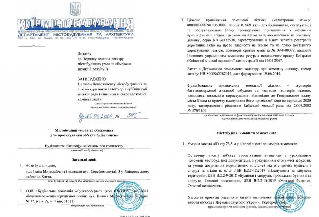 Ограничения на проектирование объекта строительства по ул. Серафимовича, 3