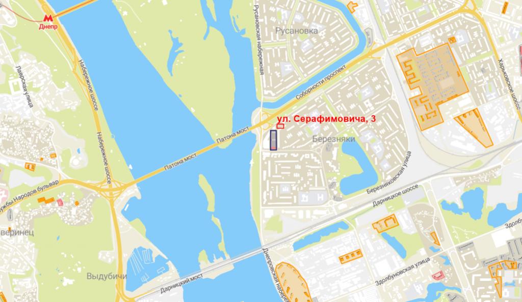 Будущий проект по ул. Серафимовича, 3 на карте