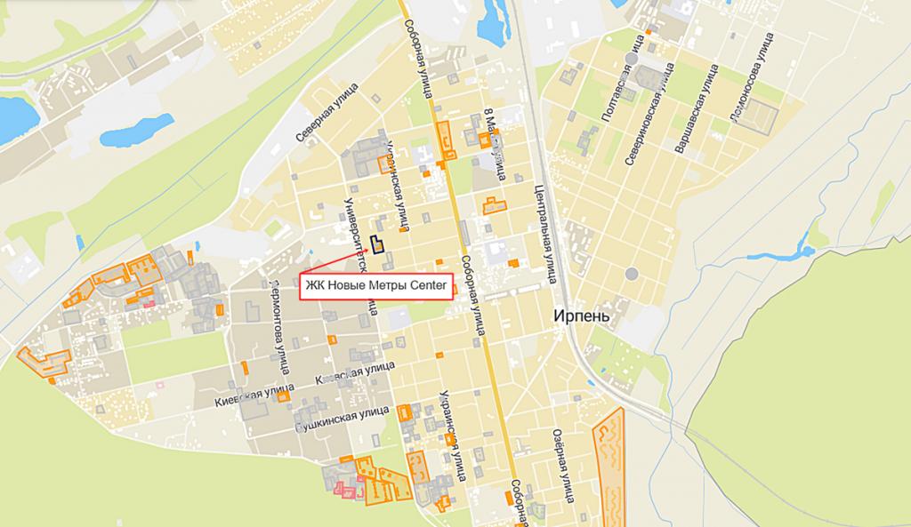 ЖК Новые метры Центр в Ирпене на карте