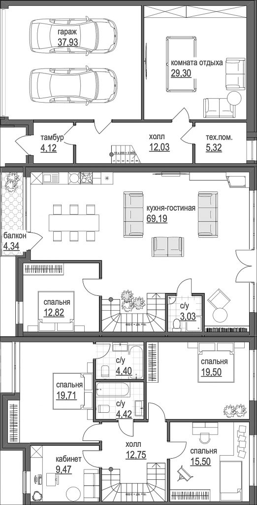 Таунхаус Park Avenue House пример планировки