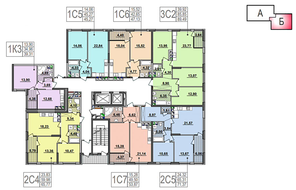 ЖК Seven план этажа