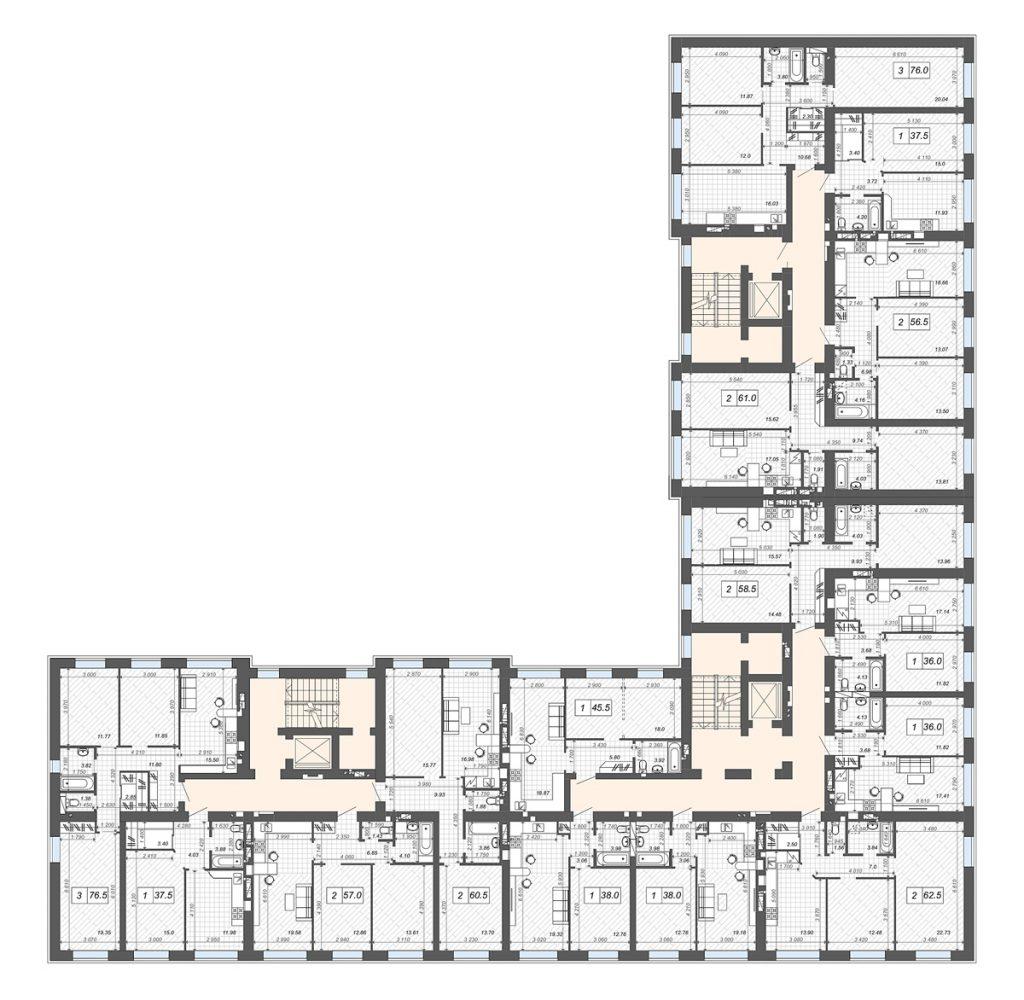 ЖК Новые метры Центр в Ирпене план этажа первого дома