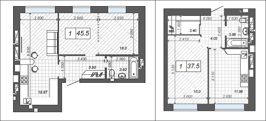 ЖК Новые метры Центр в Ирпене планировки однокомнатных квартир