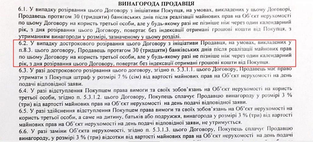 Пример описания сроков возврата средства в договоре